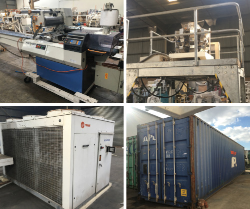 Chocolate & Confectionery Food Processing & Packaging Equipment, 3 x 40' High Cube Shipping Containers