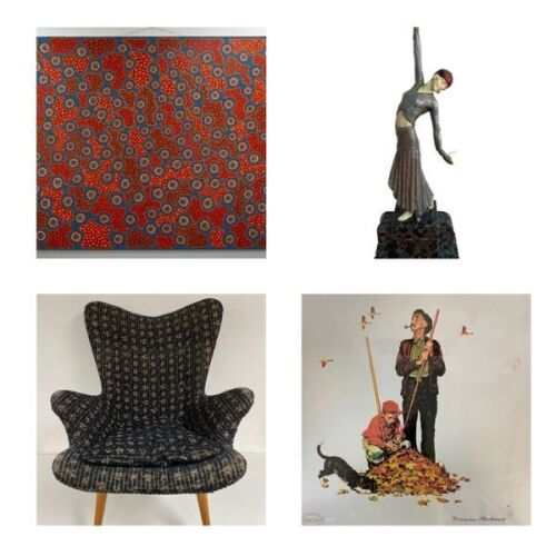 Unreserved Original Grant Featherstone Armchair and Artwork Insurance Claim Sale By Various Artist Incl. Brian Swindley, Norman Rockwell, Thomas Kinkade, Emile Bellet and More.