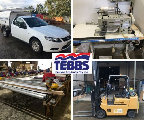 Tent Manufacturing Plant Closure, Industrial Sewing Machines, Stock, Falcon Utilities and Forklifts