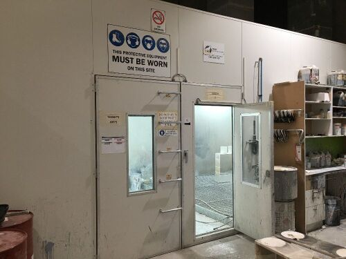 Heated PAINT SPRAYING BOOTH AND DRYING OVEN TOTAL 286 SQM Aluminium Sandwich Panel Construction comprising:
