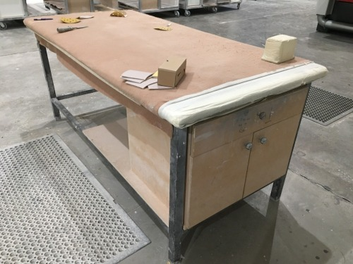 Quantity of 2 x Steel Framed Benches, MDF Timber Top, 2100 x 1000mm