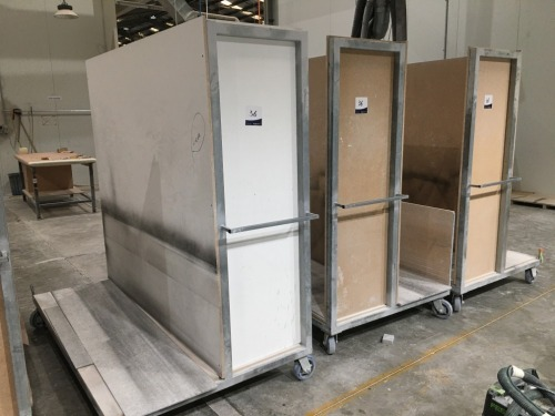 Quantity of 4 x Panel Transport Trolleys, Steel Fabricated, Chipboard Construction