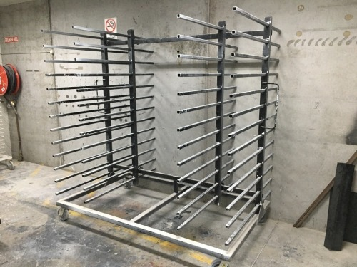 Quantity of 5 x Drying Racks, 13 Tier each, Black Steel Fabricated, 2000 x 1200 x 2100mm H