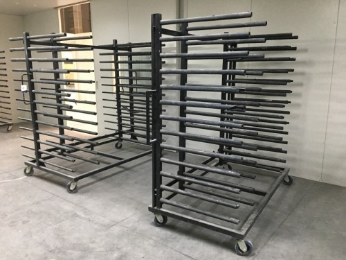 Quantity of 4 x Drying Racks, 13 Tier each, Black Steel Fabricated with Rubber Inserts, 2000 x 1200 x 2100mm H