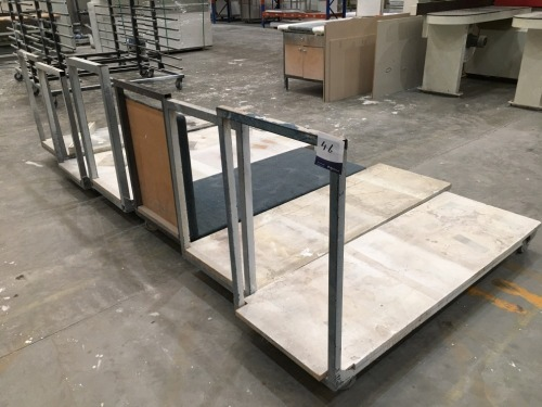 Quantity of 6 Flat Bed Stock Trolleys, Steel Framed, Timber Top