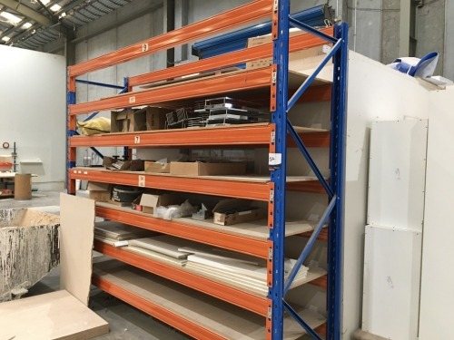 Pallet Racking, 2 Upright Frames 2700mm H x 830mm W & 14 Beams at 3040mm & 6 Chipboard Shelves
