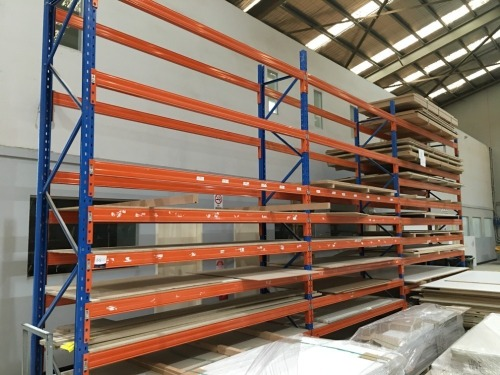 Pallet Racking, 4 Upright Frames 4250mm H x 830mm W & 48 Beams at 3040mm & 9 Chipboard Shelves