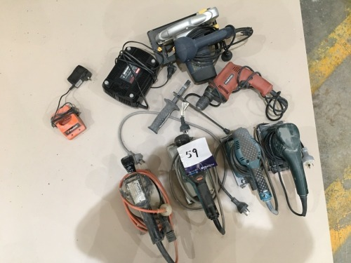 6 x Assorted Power Tools (4 x Sanders, Circular Saw & Drill)