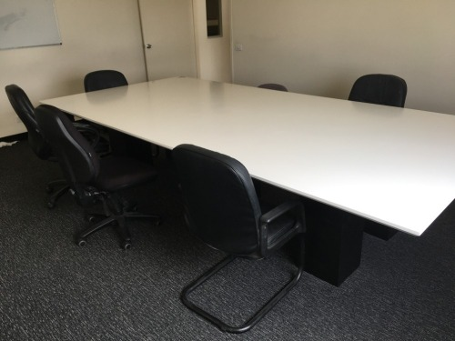 Boardroom Table, White Laminate Top, 3550mm L x 1750mm W; Whiteboard, 7 x Chairs