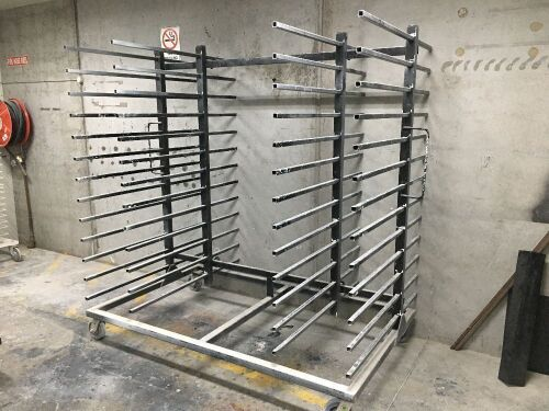 Quantity of 2 x Mobile Drying Racks, Steel Fabricated, 2000 x 1250 x 2250mm H