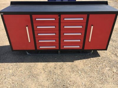 Unused 2019 10 Drawer Tool Cabinet and Workbench