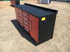 Unused 2019 10 Drawer Tool Cabinet and Workbench - 5