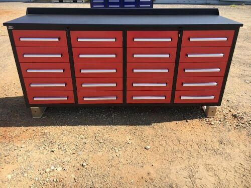 Unused 2019 20 Drawer Tool Cabinet and Workbench