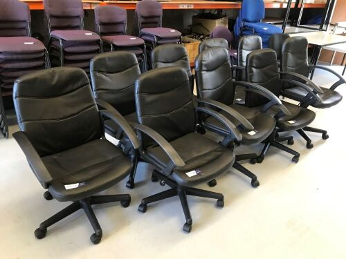 Quantity of 9 x Black PU Leather Office Chairs