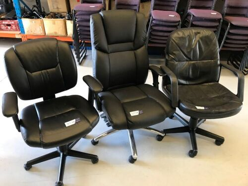 Quantity of 3 x Assorted Black PU Leather Office Chairs