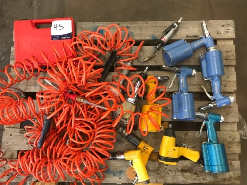 Pallet of Assorted Air Tools and Air Line