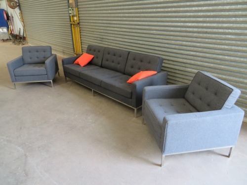 Matt Blatt Eames Replica Lounge Suite, 1 x 3 seater couch, 2 x lounge chairs, Grey fabric upholstered