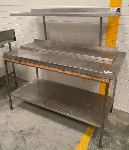 Stainless steel bench and wall mount shelving