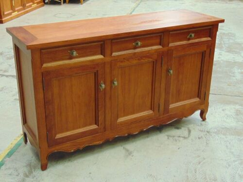 3 Drawer Riviera Buffet plus 3 door single shelf storage - Dims 1660W x 520D x 950H mm - Red (Jarrah) stain finish