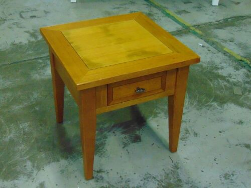 Riviera Lamp/Bedside table, 1 Drawer - Dims 600 x 600 x 600mm - Teak Finish