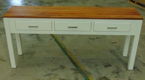 Timber/White 3 Drawer Console Table/Hall Table - Dims 1600W x 380D x 740Hmm