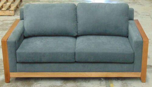 Charcoal 2 Seater Sofa with timber rails and arm rest - Charcoal fabric cushions - Dims 1830W x 900D x 890H mm