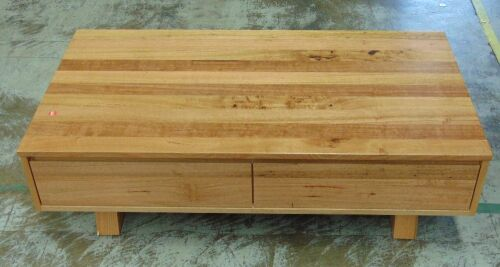 2 Drawer Timber coffee Table - Dims 1300W x 700D x 380H mm