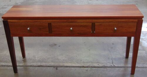 3 Drawer Timber console table - Dims 1500W x 400D x 770H mm.