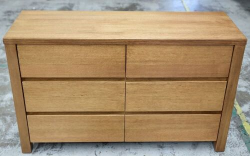 6 Drawer Timber Dresser - 1280W x 450D x 780H mm