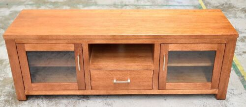 2 Door / 1 Drawer Timber Entertainment unit - Dims 1600W x 480D x 570H mm