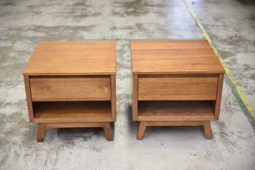 Pair of Single drawer timber bedside tables - 570W x 570D x 530H mm