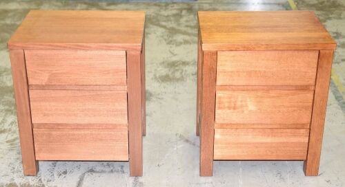 Pair of 3 Drawer Timber bedside tables - Dims 550W x 450D x 660H mm