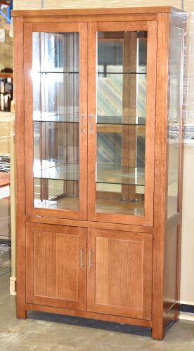 2 Door Timber Display Cabinet. Has 2 door storage at the bottom . Dimensions 1030W x 410D x 2000H mm.