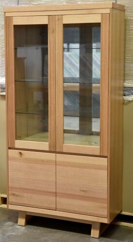 2 Door Timber Display Cabinet. Has 2 door storage at the bottom . Dimensions 1000W x 400D x 2010H mm.