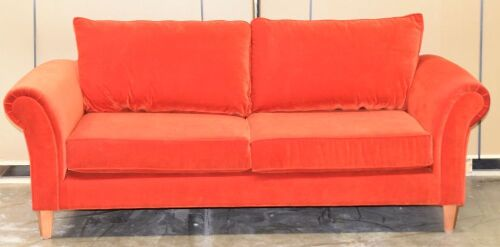 Red 3 Seater Fabric Sofa - Dimensions 2300W x 970D x 1000Hmm.