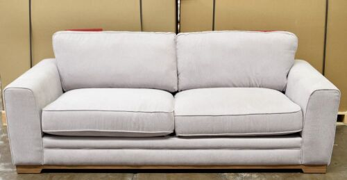 3 Seater Light Grey Fabric Sofa - Dimensions 2250W x 890D x 910Hmm.