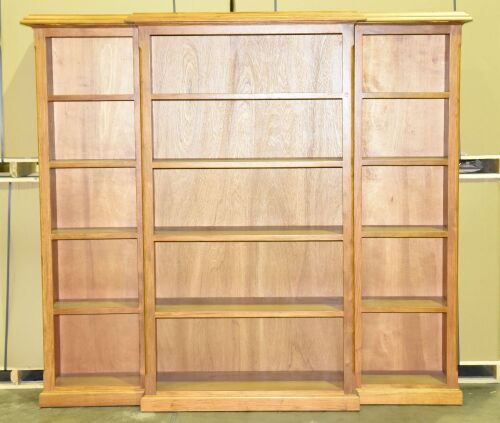 3 Piece Timber book case - Overall Dimensions 2300W x 430D x 2060H mm. -Item comes in 4 pieces.