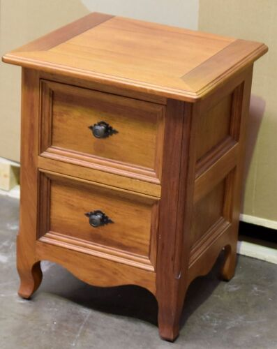 2 Drawer Timber Bedside Table - Dimensions 510W x 450D x 670H mm