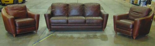 Calia Italian Leather lounge Suite ( Brown) Replacement Value $14,000