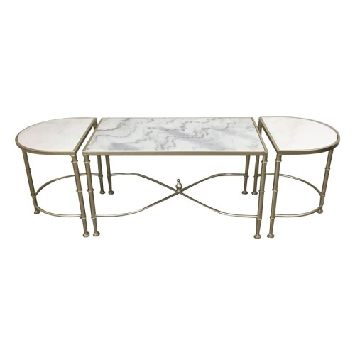 ANGELA COFFEE TABELSET OF 3 TABLE CHAMPAGNE