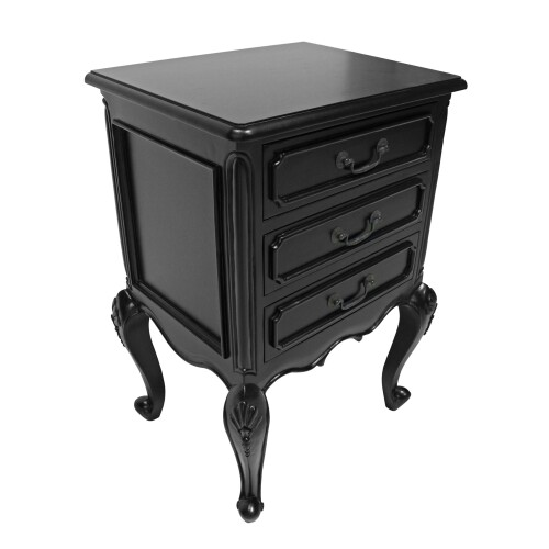 Classic Provence Distressed Black Finish Mahogany 3 Drawer Bedside Table - 76cm