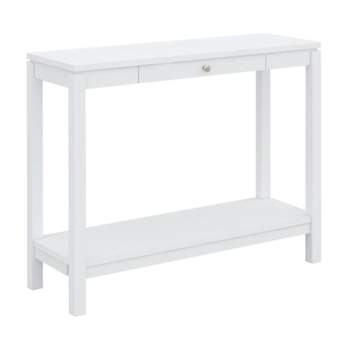 Braque Solid Rubberwood Timber Hall Table, 100cm, White 100cm W x 35cm D x 80cm H