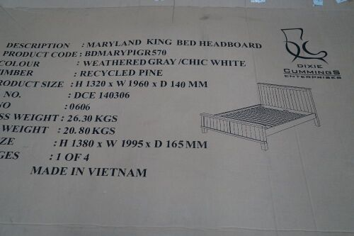 Maryland King Bed Dimensions: 1320H x 1960H x 140D mm