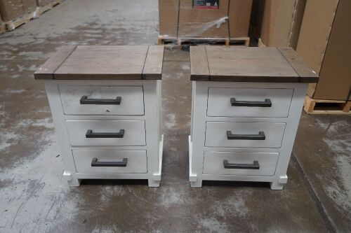 2 x White 3-Drawer Bedside Table