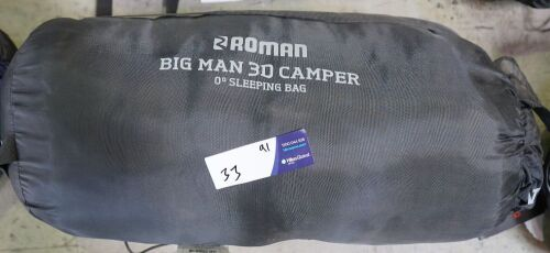 Roman - Big Man 3D Hooded Sleeping Bag 200x90x90cm (Warranty -some stiching coming undone, never used)