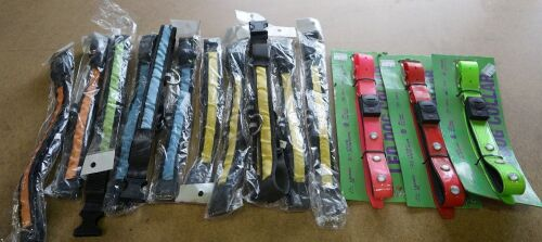 Assorted Dog Collars (12 x mix coloured Nylon, 3 x LED Collars)