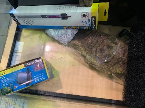 one medium fishtank with accessories 59L x 45H x 44W cm