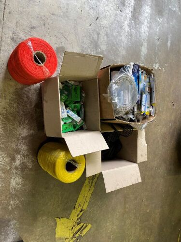 Three Boxes Various Aquarium products, Quantity Unknown on all, 1 box comprising of Gravel cleaner & Vac A Tank Tubing, I box syringes and futtering, 1 box of aquatic chairs, 2 rolls synthetic netting 1 red & 1 yellow.