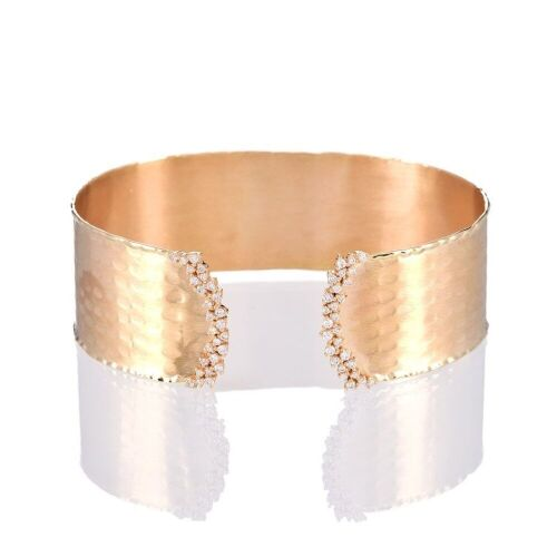 One ladies wide cuff style bangle 14yg with 54 round diamonds TDW=0.62ct