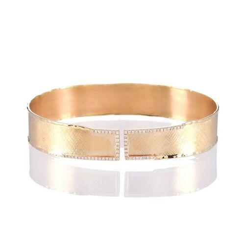 One ladies wide cuff style bangle 14yg with 62 round diamonds TDW=0.34ct